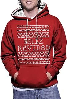 HAASE UNLIMITED Mens Feliz Navidad - Merry Christmas - Ugly Christmas Sweater Two Tone Hoodie Sweatshirt (Large, RED/White Strings)