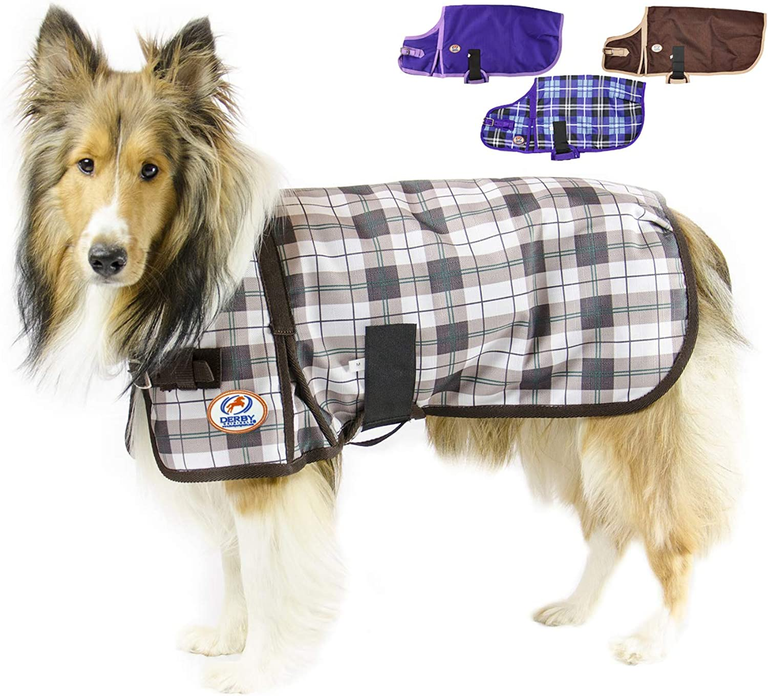 CuteNfuzzy Green Fawn Plaid Super Tough 1200D Dog Coat with Fleece Lining with 2 Year Limited Warranty, Large