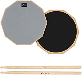 """Remo RT-0010-00 10"""" Gray Tunable Practice Pad with Ambassador Coated Drumhead Vic Firth Heavy Hitter Quadropad - Large (HHPQL) RealFeel by Evans Practice Pad, 6 Inch - RF6GM Donner 12 Inches Drum Practice Pad 2-Sided Silent Drum Pad Set Gray With Drum Sticks"""