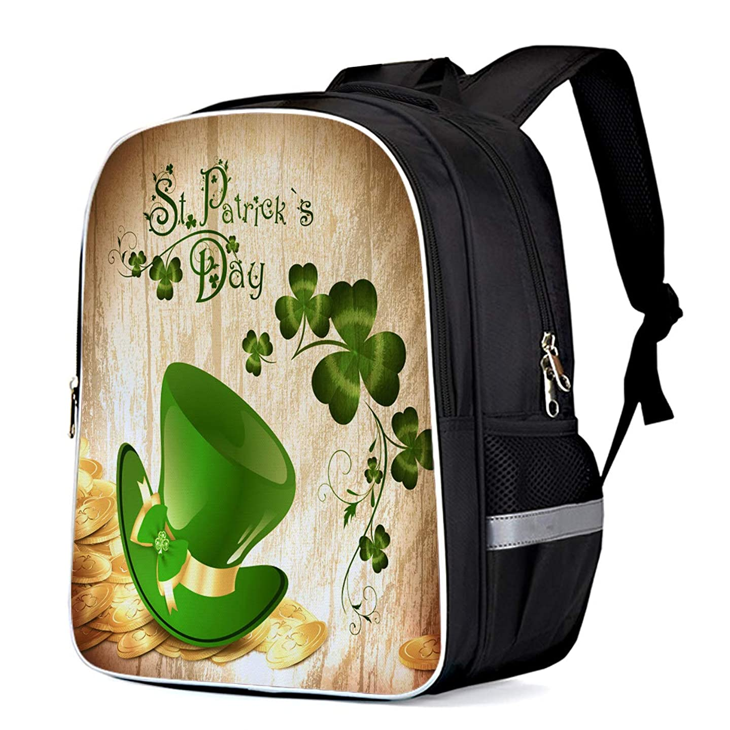 Casual Backpack Waterproof St. Patrick's Day Pattern Printed Leprechaun Hat and Clover College School Business Travel Backpack for Women and Men