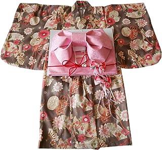 TWO L 浴衣 女の子 子供 花柄 3点セット(浴衣+兵児帯+ヘア飾り)