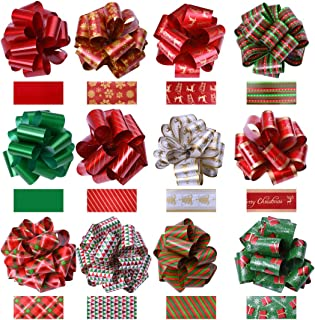 KOMIWOO Pack of 24 Ribbon Pull Bows 5-inch Wide, Assorted Xmas Gift Wrapping Ribbon Accessories, Bows, Wine Bottles, Baskets, Great Present Decorations