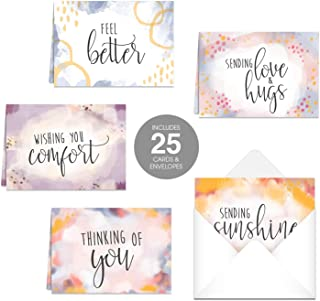 Simple Sentiments Greeting Cards / 25 Encouragement Greeting Cards and Envelopes