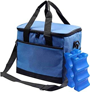 Leakproof Reusable Insulated Cooler Lunch Bag - Office Work Picnic Hiking Beach Adults Lunch Box with 2 Ice Packs & Shoulder Strap for Women, Men (Extra Large Capacity, Blue)