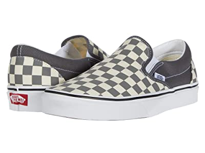 Vans Classic Slip-Ontm ((Checkerboard) Pewter/True White) Skate Shoes