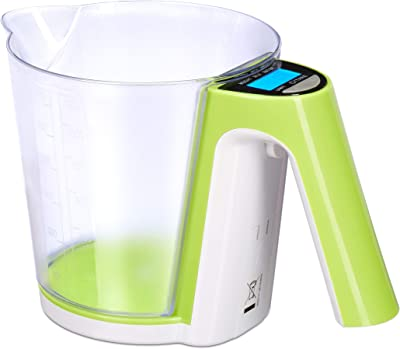 Relaxdays 10023619 Kitchen Scale, Removable Plastic Cup, Weigh, Diff. Measuring Units, Tare Function, Max. 2 kg, Green/White