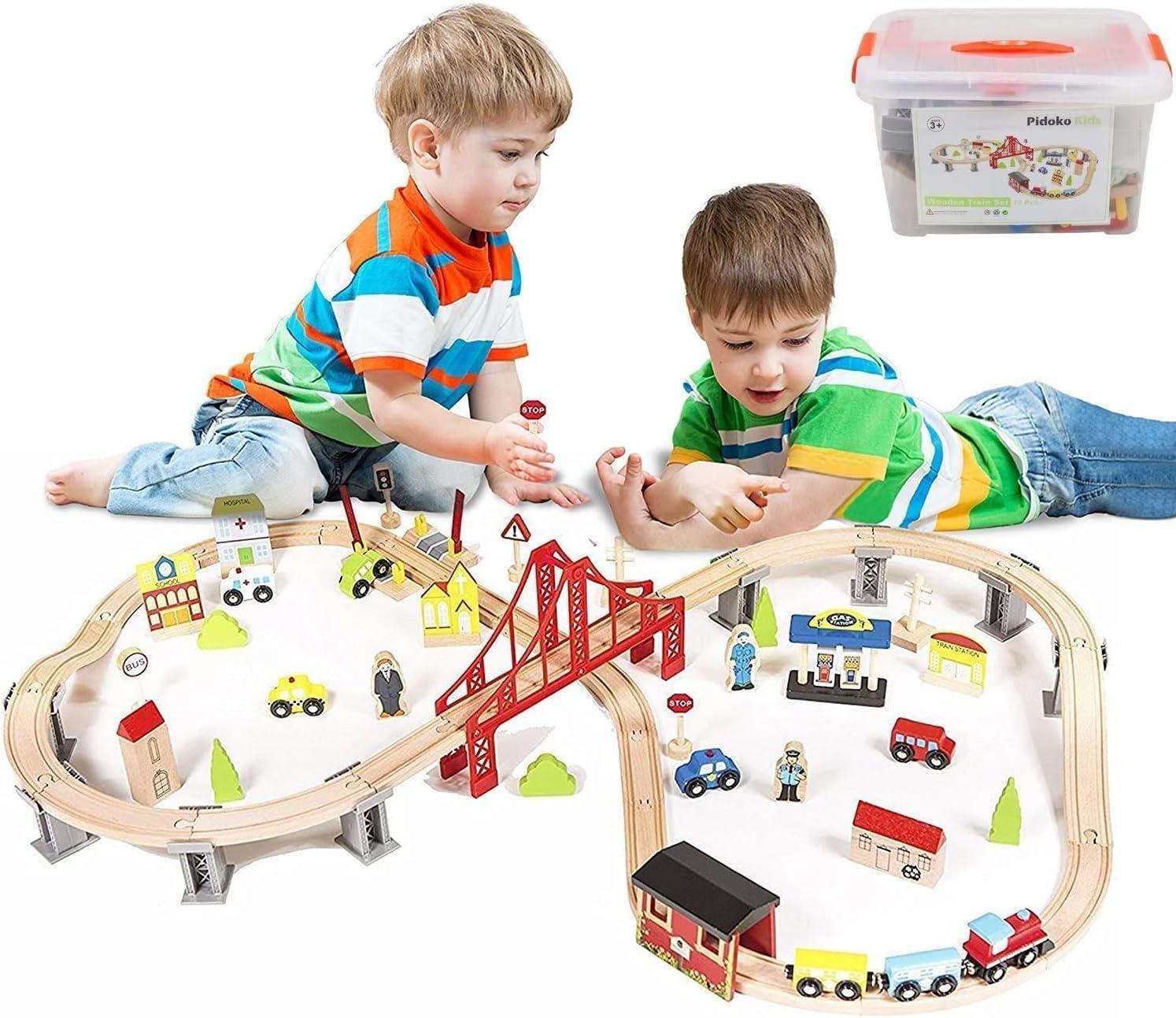 Pidoko Kids Wooden Train Set - City Seasonal Wrap Introduction Highway 70 Railway Super Pie Free shipping