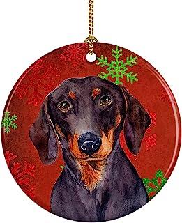 Caroline's Treasures LH9313-CO1 Dachshund Red Snowflake Holiday Christmas Ceramic Ornament, Multicolor