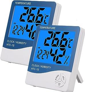eSynic 2 st bakgrundsbelysning digital termometer hygrometer luftfuktighetsmätare inomhus LCD digital hygrometer med stor ...