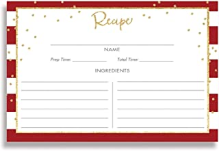 Red White Striped Recipe Cards (Set of 25) 4x6 inches Double Sided Thick Card Stock Gold Glitter Look Perfect Bridal Shower Housewarming Kitchen Chef Birthday Present Mother's Day Gift | Blake