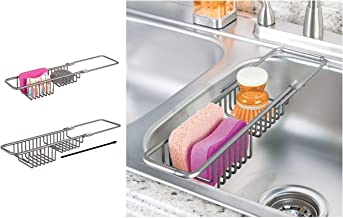 iDesign Metro Metal Expandable Over the Kitchen Sink Caddy, Rustproof Holder for Sponges, Scrubbers, Bars of Soap, 13.23
