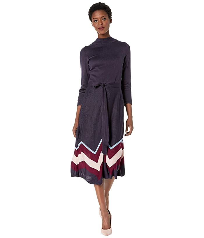1920s Day Dresses, Tea Dresses, Mature Dresses with Sleeves Vince Camuto Long Sleeve Fit-and-Flare Dress with Waist Tie Navy Multi Womens Dress $76.80 AT vintagedancer.com