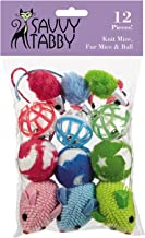 Savvy Tabby Knit Mice, Fur Mice, and Balls Cat Toys, 12-Packs