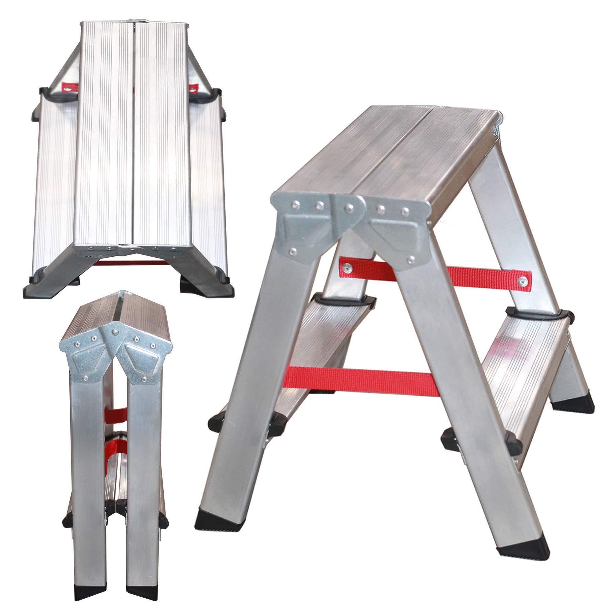 NAWA Escalera tijera doble acceso 2 Peldaños. Escadote Duplo Doméstico em Alumínio 2 degraus. EN 131 Capacidad Máx. 150 kg. Hecho en Europa (2 peldaños): Amazon.es: Bricolaje y herramientas