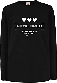 lepni.me Kids T-Shirt Game Over Continue? Yes No Funny Video Gamer Outfit