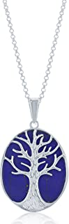 Sterling Silver Natural Turquoise, Abalone, Lapis, Mother-of-Pearl Stone Tree of Life Oval Pendant with 18