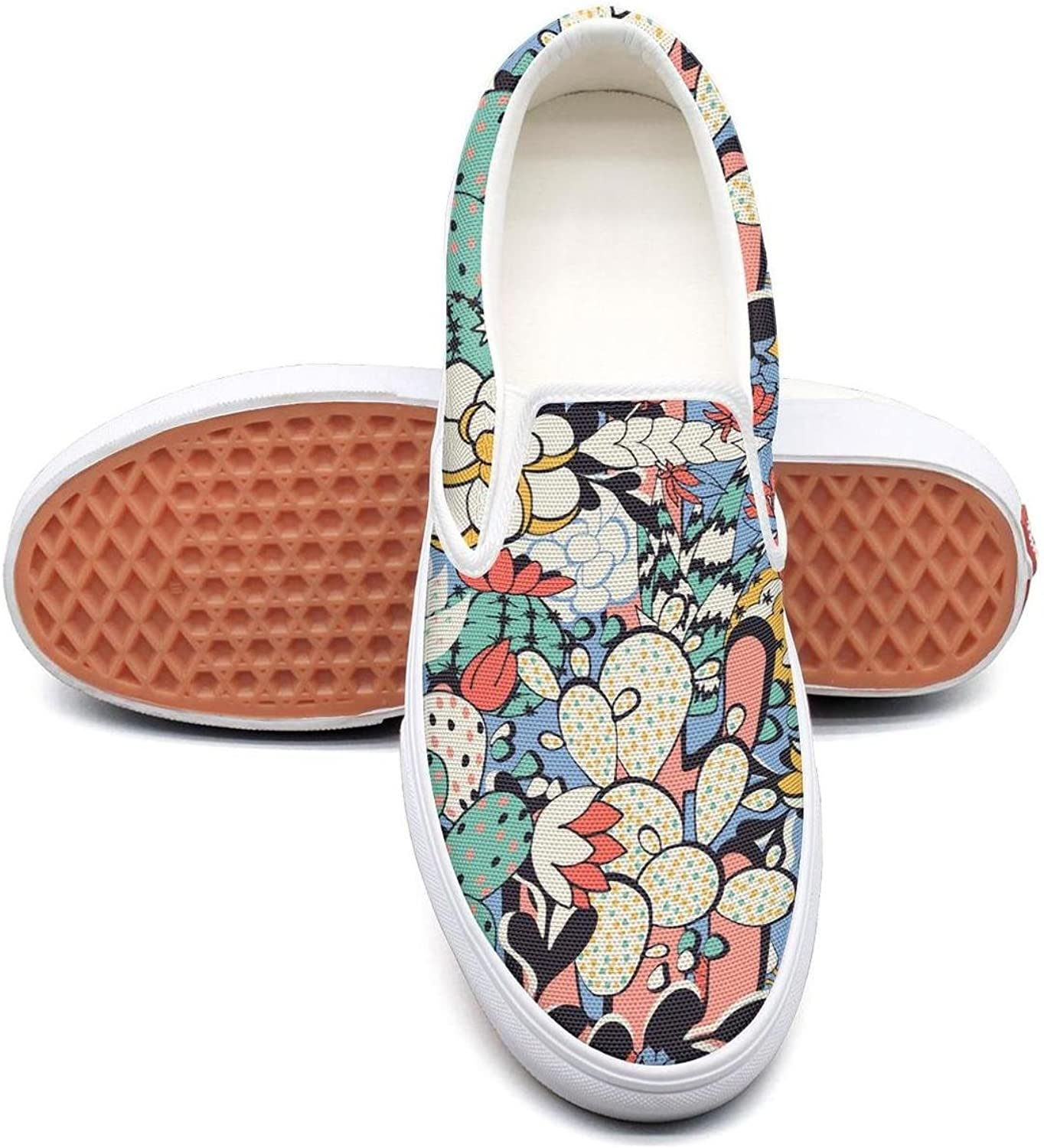 Cactus Decorations Picture Slip on Rubber Sole Sneakers Canvas shoes for Women Casual