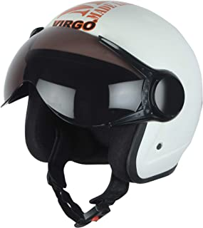 Virgo helmet ISI Certified BLT Color White Matt finish Tinted visor