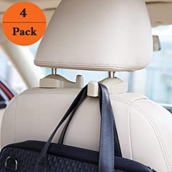 4-Pack Headrest Hanger Bag Holder for Car Seat Hooks Hangbags Hangers for Purses and Bags with Lock