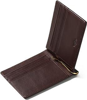 Kapon マネークリップ メンズ 本革 オイルレザー クリップ2本(ゴールド・シルバー)付属 ギフトボックス 付き クリップ1年保証 二つ折り 財布 札ばさみ 薄い 軽い