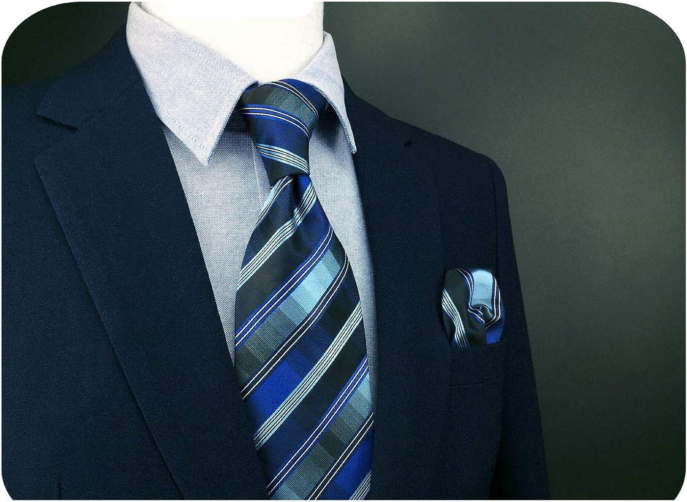S&W SHLAX&WING Men Ties Dark Blue and Silk Neckties Striped