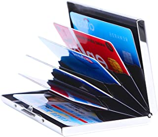 Wommty Ultra Thin Aluminum Metal Wallet RFID Blocking Credit Card Holder Case with 6 PVC Slots for Men & Women (Silver)