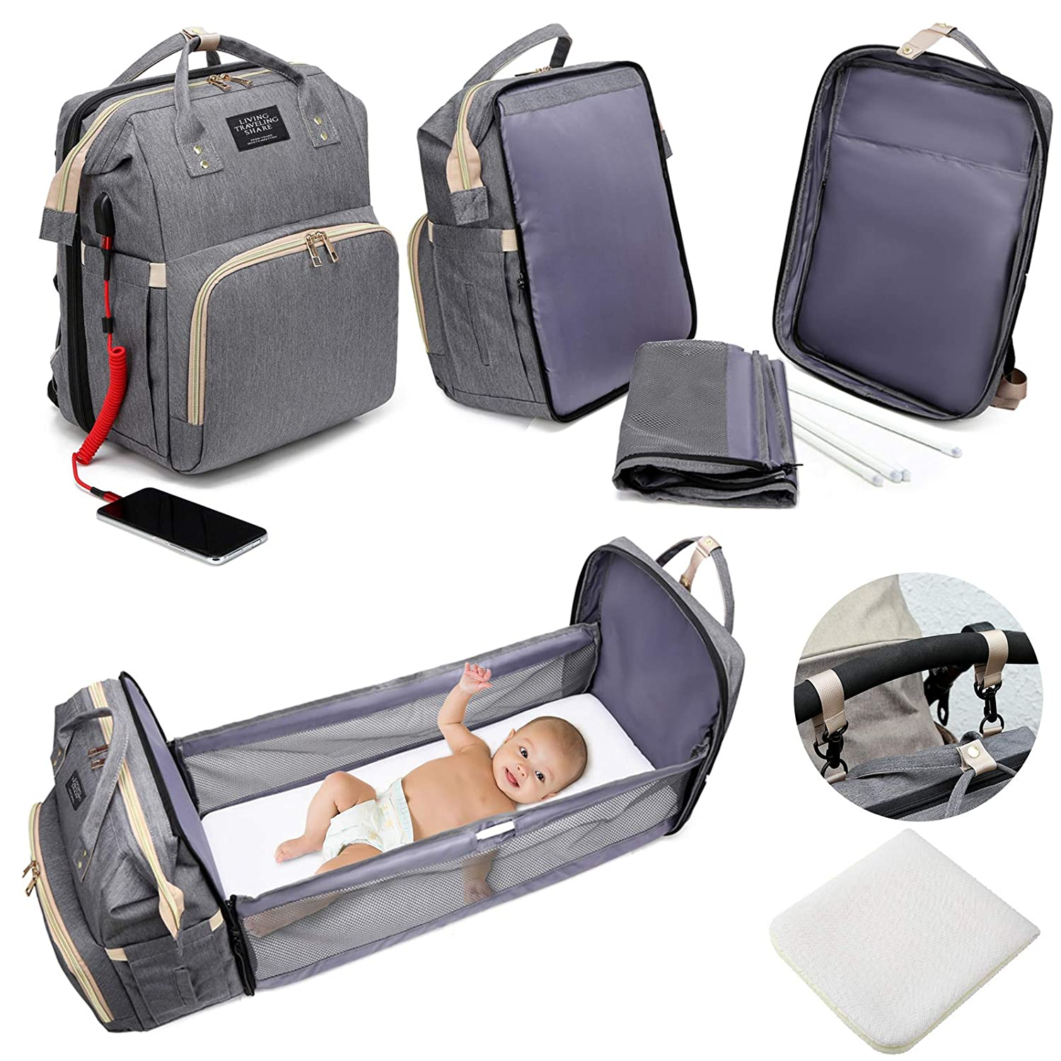 Diaper Bag Backpack with Changing Station,5 in 1 Travel Foldable Baby Diaper Bag,Mommy Bag Diaper Bag Changing Station Multi-Function Waterproof with Mattress and USB Charging Port (Grey)