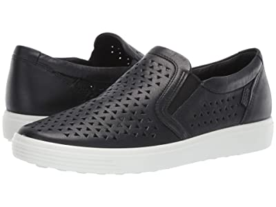 ECCO Soft 7 Laser Cut Slip-On (Black Cow Leather) Women