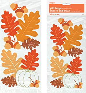 Unique Fall Leaves Cellophane Bags | 20 Count | Autumn, Fall, Thanksgiving and Halloween Party Favor Gift Bag
