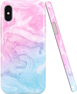 JAHOLAN iPhone X Case iPhone Xs Case Pink Blue Marble Design Clear Bumper Glossy TPU Soft Rubber Silicone Cover Phone Case for iPhone X iPhone Xs
