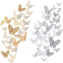 72Pcs 3D Butterfly Wall Decals Sticker with Gold Silver Butterfly Decals Metallic Art Decorations Sticker, 3 Sizes DIY Rem...