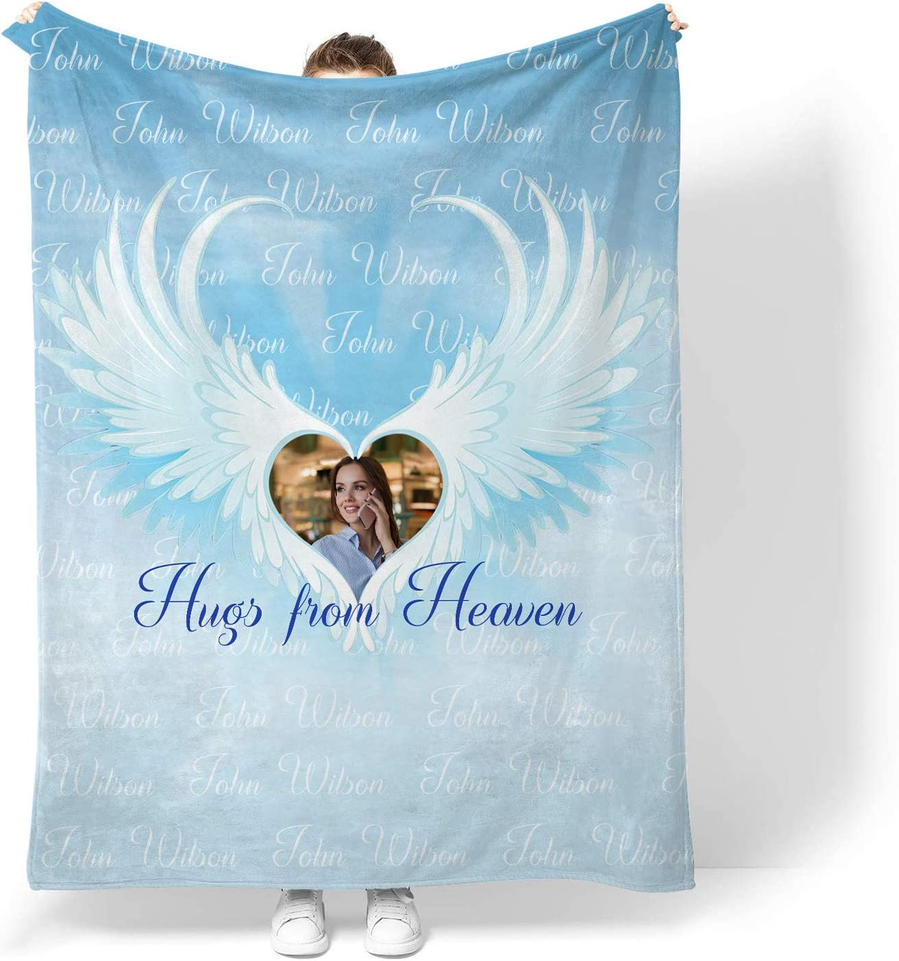 Custom NamePhoto or Text 激安セール Hugs Throw from ☆新作入荷☆新品 Blanket Fleece Heaven