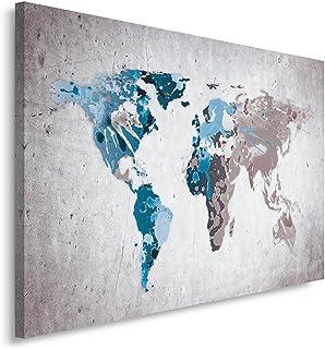 Feeby. Cuadro en Lienzo - 1 Parte - 80x120 cm, Imagen impresión Pintura decoración Cuadros de una Pieza, Mapa del Mundo, Moderno, Gris