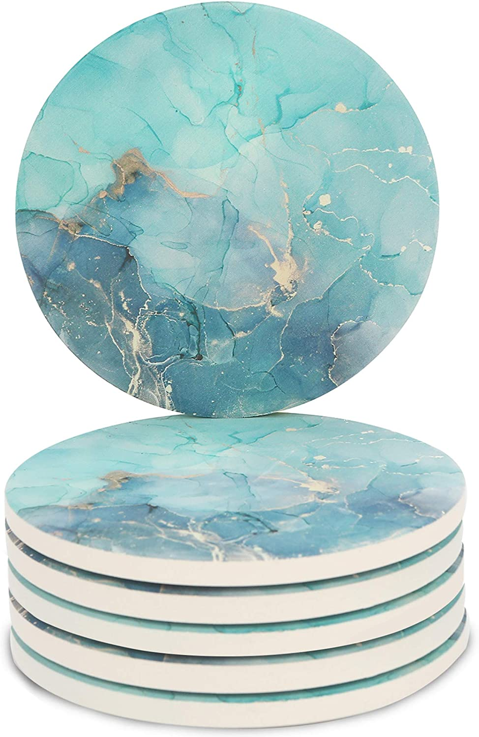 Miwen Coasters for Drinks, Marble Pattern (Teal+Gold), Absorbent Ceramic Stone with Cork Back, 4.25'' Large Diam, Prevent Furniture from Dirty, Spills, Water Ring, Housewarming Gift, Set of 6