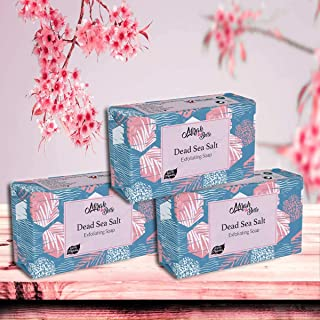 Mirah Belle - Organic Dead Sea Salt Exfoliating Soap Bar (Pack of 3-125 gm) - For Clogged Pores and Dead Skin Removal. Hel...