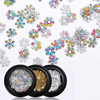 Sethexy 3D Christmas Snowflake Nail art Accessories Gold Metal Studs DIY Sequins Glitter Alloy for Art Nails Design(3 Boxes)