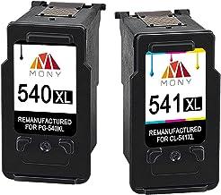 Mony Remanufacturado Cartuchos de tinta Canon PG-540 CL-541 XL (1 Negro, 1 Tricolor) Compatible con Canon Pixma MG3650 MX475 MG4250 MG3550 MG3250 MG3150 MX535 MX395 MG3200 Impresoras