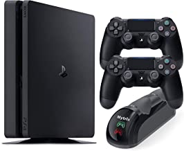 Playstation 4 Slim 1TB Console with Two DS4 Wireless Controller and Mytrix DS4 Fast Charging Dock