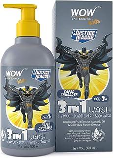 WOW Skin Science Kids 3 in 1 Wash - Shampoo + Conditioner + Body Wash - Caped Crusader Batman Edition - No Parabens, Colo...