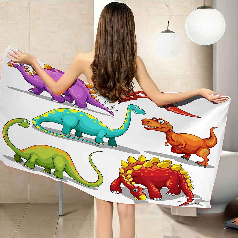 VJEJSE Weekly update 3D Red Green Cartoon Dinosaur Quick Omaha Mall Towel Soft Print Bath
