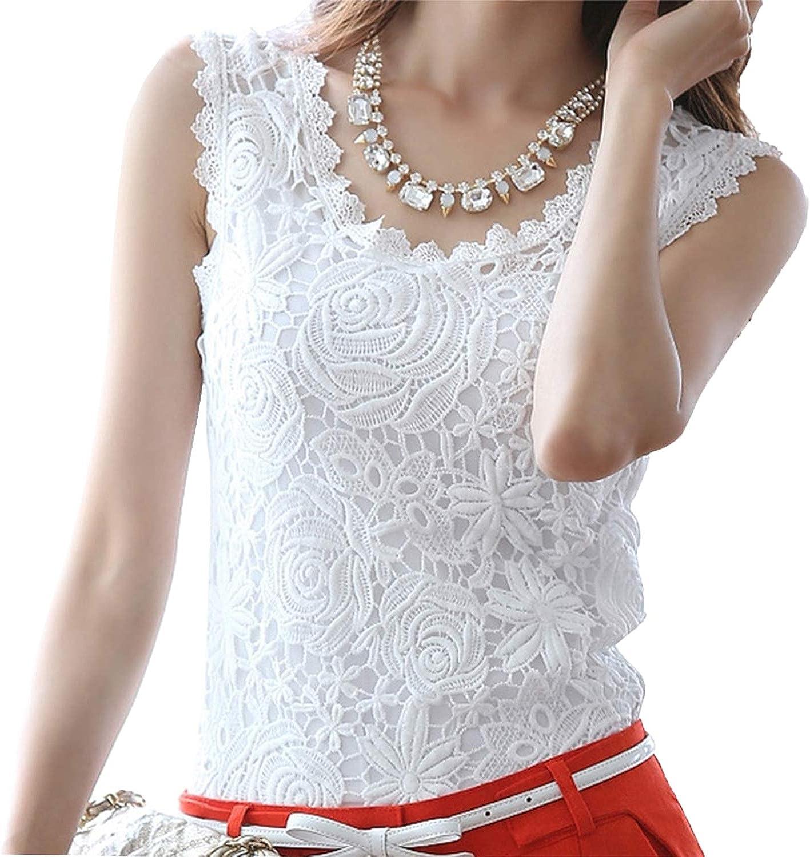 Montip Lynn Top Blouse Sleeveless Lace Elegant Work Casual Party Wedding White S M L XL XXL