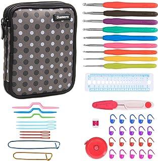 Damero Kit de crochet ergonomique -- Avec trousse de deux compartiments, 9psc Aiguilles à crochet, Accessoires complètes à...