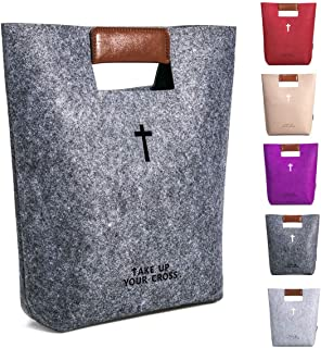 AGAPASS Christian Bible Tote Bag for Men Women, Bible Cover Case Carved Cross Holy Bible Carrying Bag, Felt Tote Church Bible Study Case,Christian Gift, Bible Purse,Dark Grey