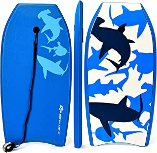 G Super Bodyboard Body Board EPS Core, IXPE Deck, HDPE Slick Bottom with Leash (Blue Shark, 37-inch)
