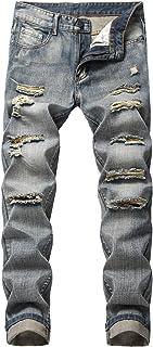 Men's Distressed Jeans Slim Fit Ripped Denim Moto Biker Jeans Pants