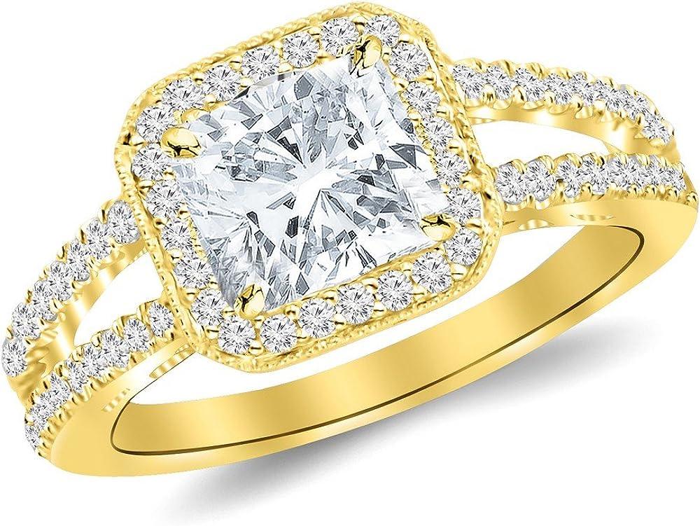 2 5 ☆ Max 52% OFF popular Ctw 14K White Gold Designer Cert Split Halo Shank Milgrain GIA