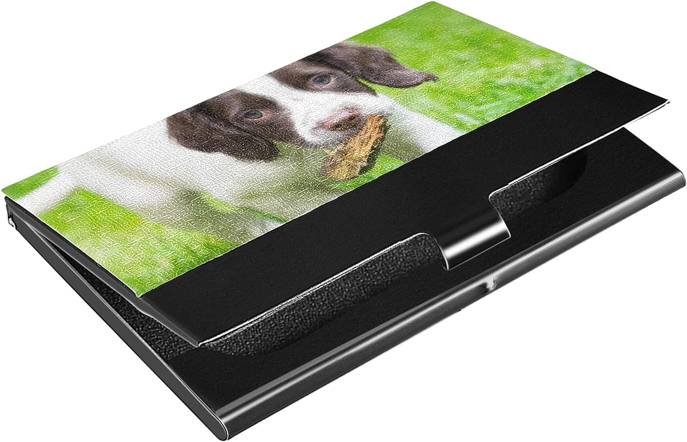 New mail order OTVEE Dog Memphis Mall Puppy Grass Business Leather Stain Coated Holder Card