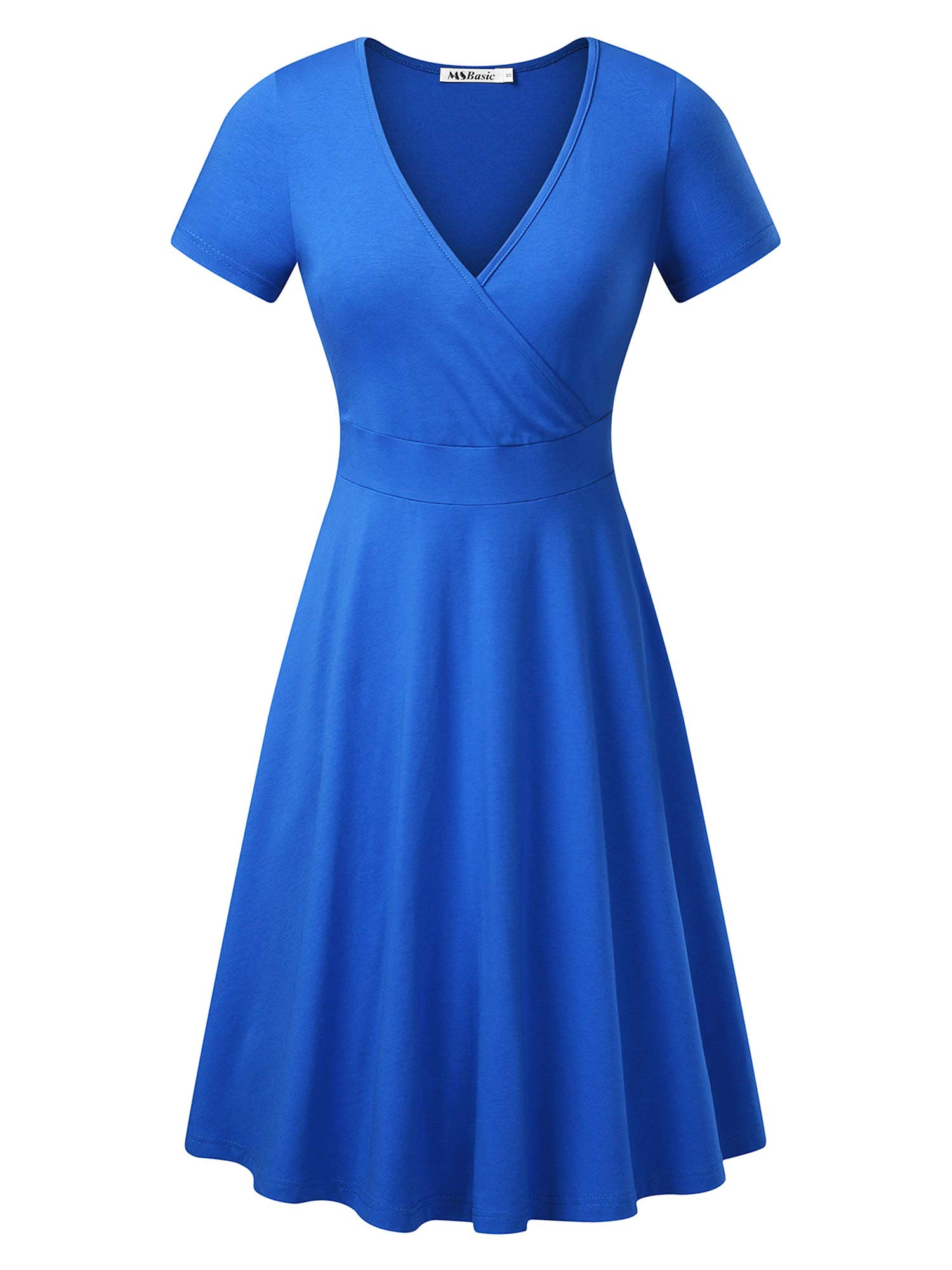 Available at Amazon: MSBASIC Women's Deep V Neck Short Sleeve Unique Cross Wrap Casual Flared Midi Dress