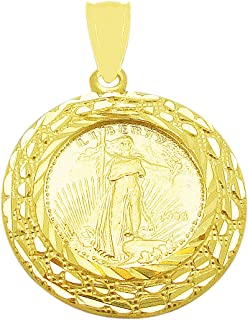 Walking Liberty Coin and Bezel Pendant 10K Yellow Gold