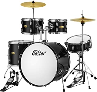 Eastar 22 inch Full Fize Adult Teen Drum Set 5 Piece with Cymbals Stands Stool and Sticks, Mirror Black